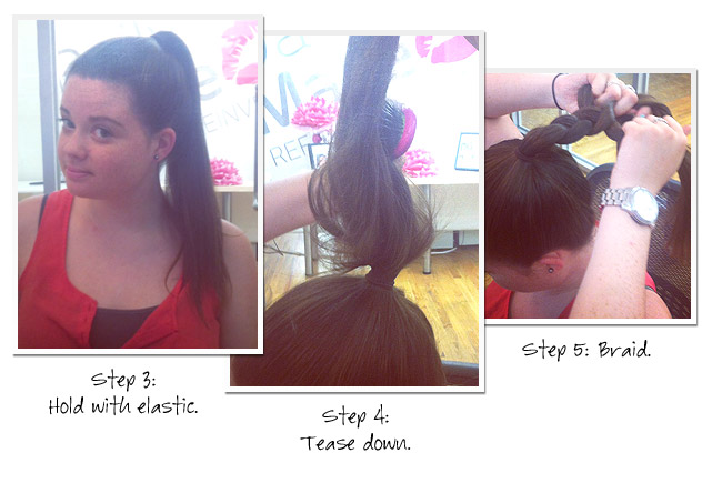 02 bun howto1 Get The Look: A 3 Minute Topknot