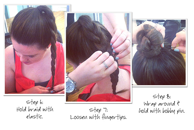 03 bun howto1 Get The Look: A 3 Minute Topknot
