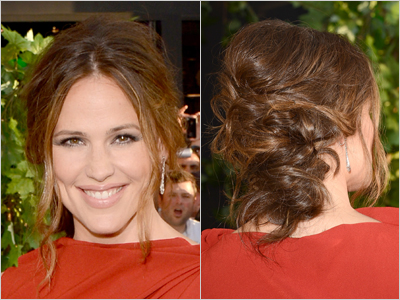 Jennifer Garner Premiere Messy Updo French Twist Hairstyle