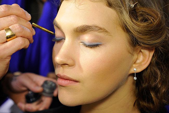 Blue eye makeup at Paris Fashion Week spring 2013