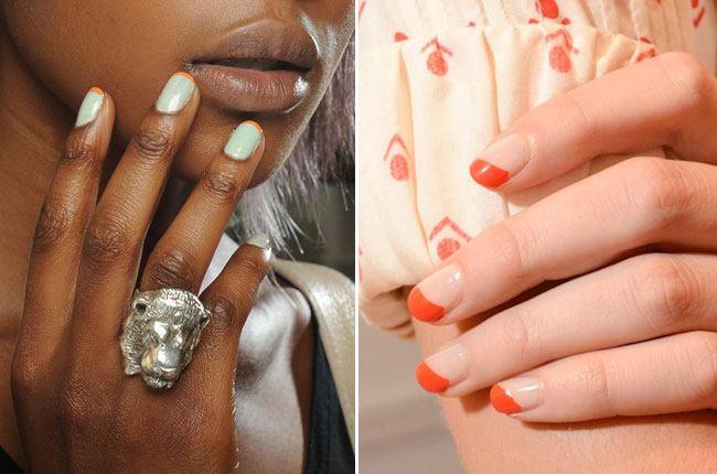 Colorful French manicures at Peter Som and Lauren Moffatt