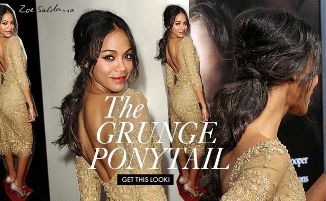 grunge ponytail Get The Look: Zoe Saldanas Trendy Ponytail