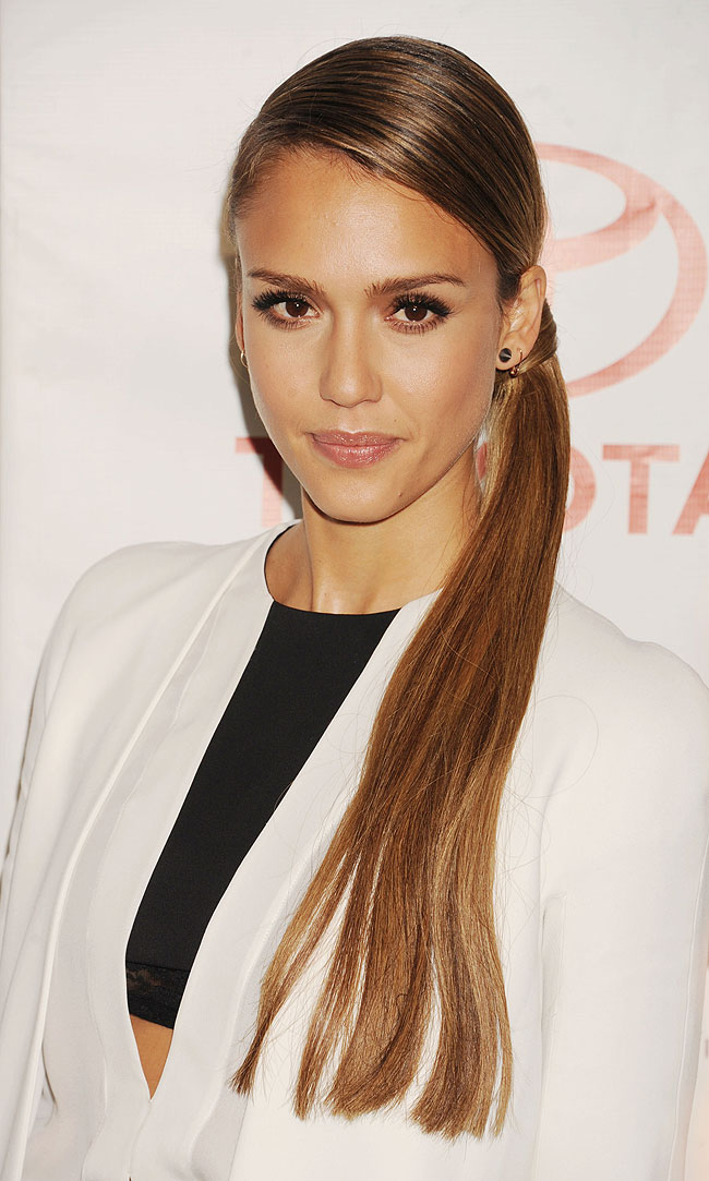 Jessica Alba's braided side ponytail hairstyle