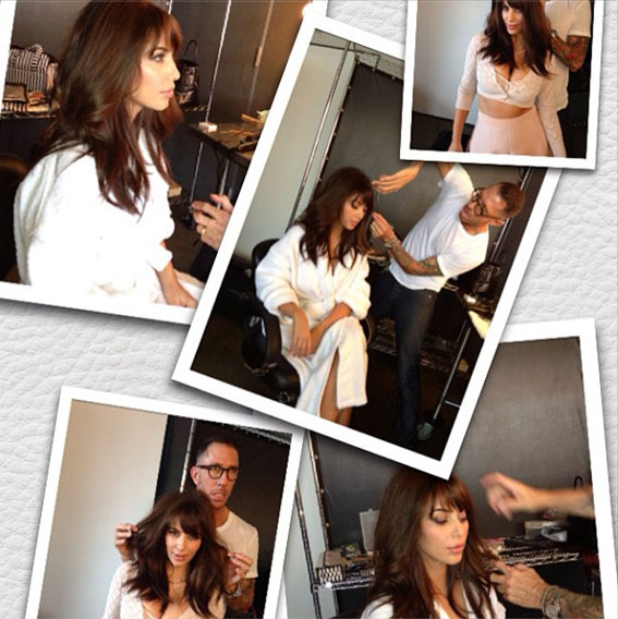 Kim Kardashian's new bangs in progress