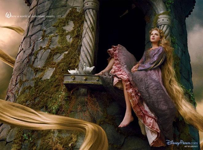 Taylor Swift as Rapunzel in a new Disney ad shot by Annie Leibovitz