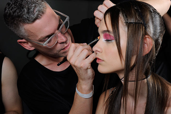Nars makeup artist James Boehmer uses lipstick as eye shadow at Creatures of the Wind