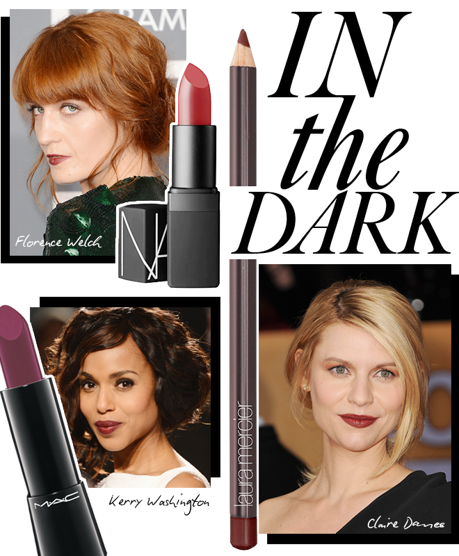 Dark lip color as seen on Kerry Washington, Claire Danes and Florence Welch