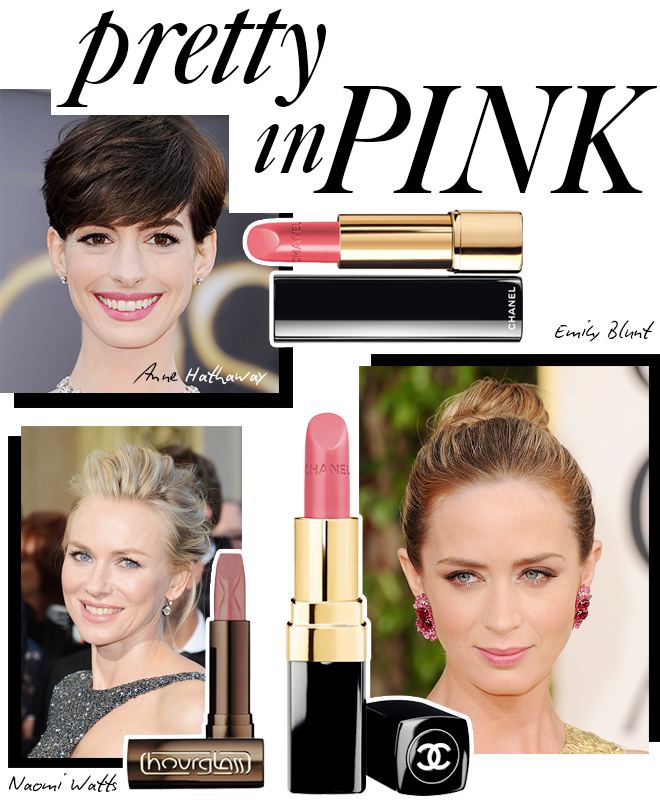 Pink lip color as seen on Anne Hathaway, Naomi Watts and Emily Blunt