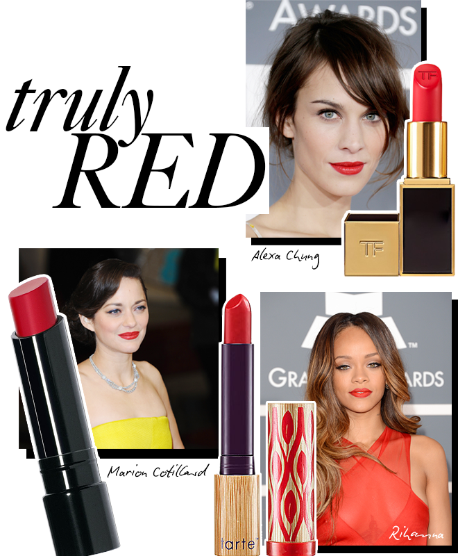 Red lips on Alexa Chung, Marion Cotillard and Rihanna