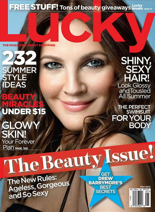 drew barrymore lucky News: Drew Barrymores Wrinkles Are Strategically Photoshopped; See New Hunger Games Hairstyles