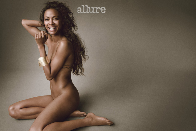 Zoe Saldana gets naked for Alllure