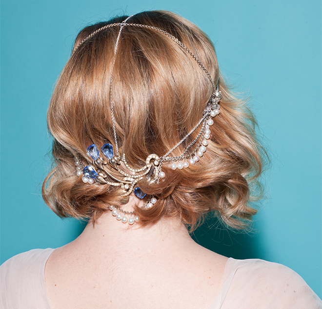 Alison's custom bridal headpiece
