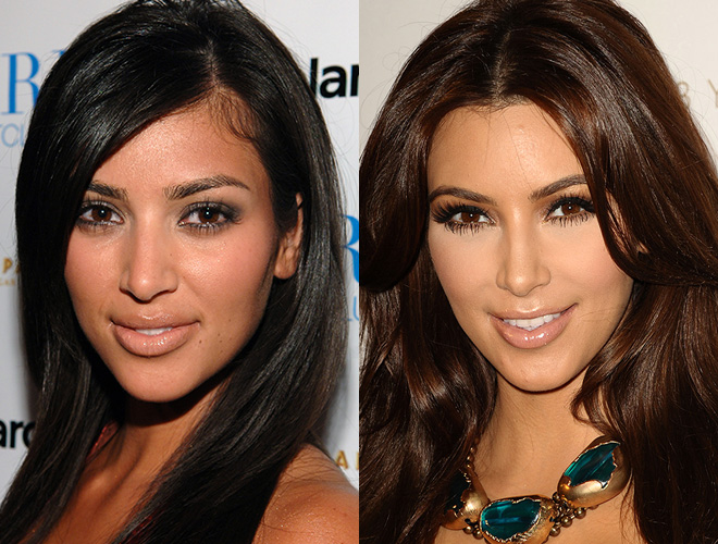 Kim Kardashian, before and after contouring
