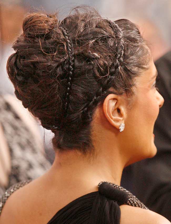 Salma Hayek Braid Updo