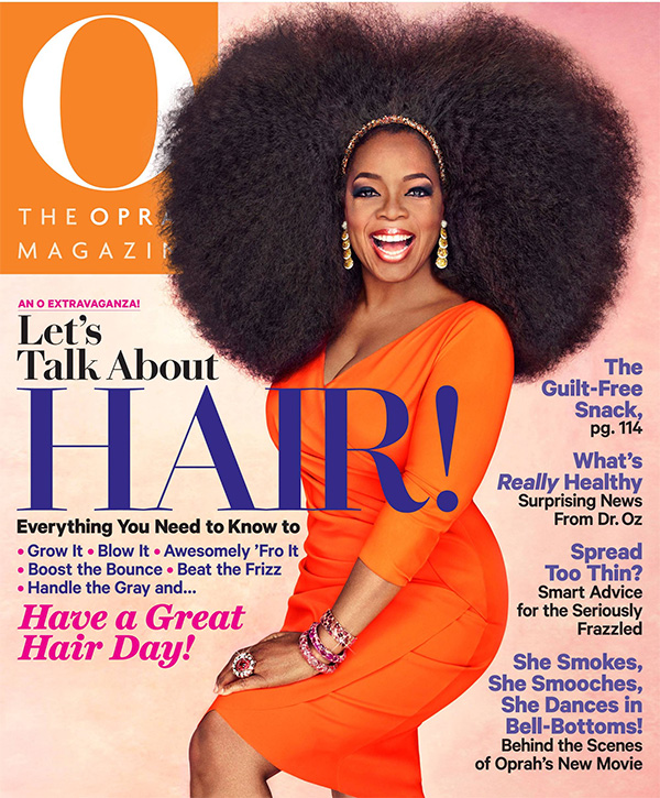 Oprah wears a 3.5 Afro on the cover of O magazine's September issue