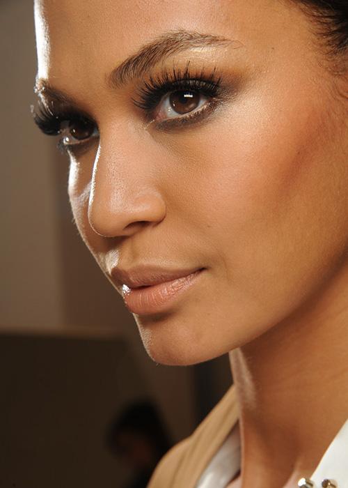 Model with long eyelashes