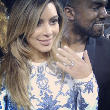 No surprise here: Kim K.'s ring is huge!