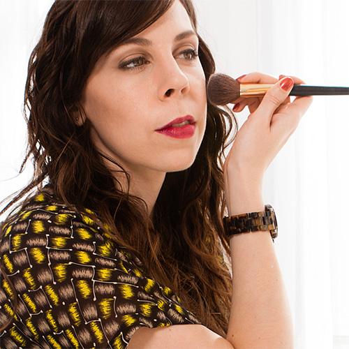 Wendy practicing wedding makeup