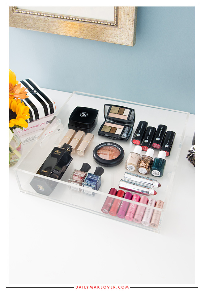 clear tray beauty product organization