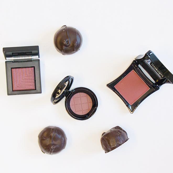 L to R: Nars Dual Intensity Eyeshadow in Subra, BeautiControl Eyeshadow in Mulberry Mûre, Illamasqua Eyeshadow in Forgiveness.