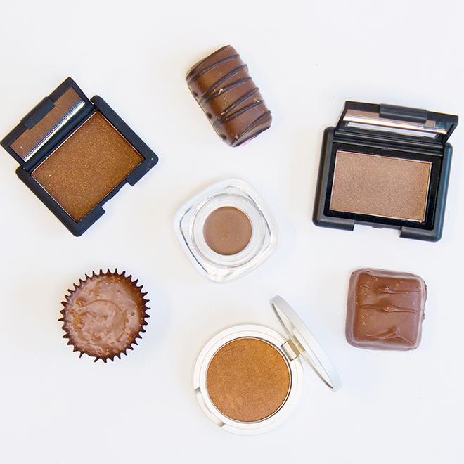 L to R: Nars Eyeshadow in Galapagos, D&G Gel Cream Eyecolor in Cocoa 60, RAMY Eyeshadow in Lucky Penny, e.l.f Eyeshadow in Coffee Bean