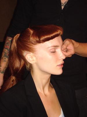 Fashion Week Spring 2010 Cynthia Rowley backstage hair