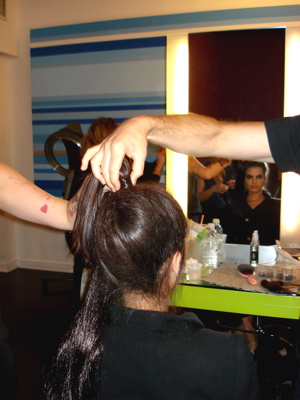 Fashion Week Spring 2010 backstage Norma Kamali hair
