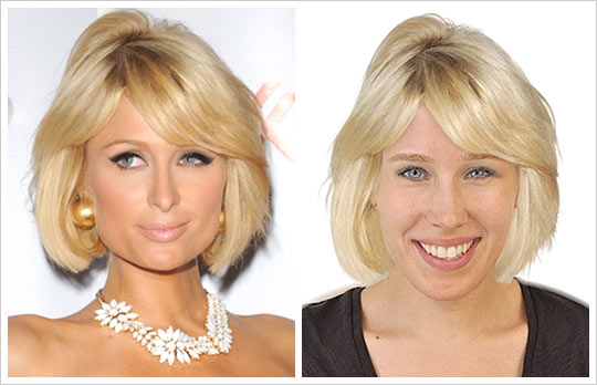 Paris Hilton hair makeover look