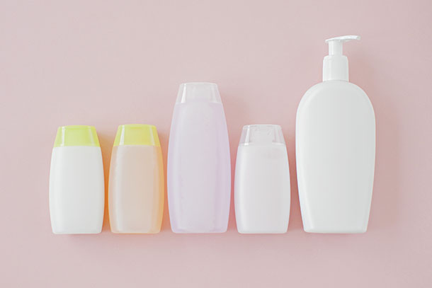 Bottles of cosmetics